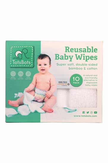 TotsBots Reusable Baby Wipes White