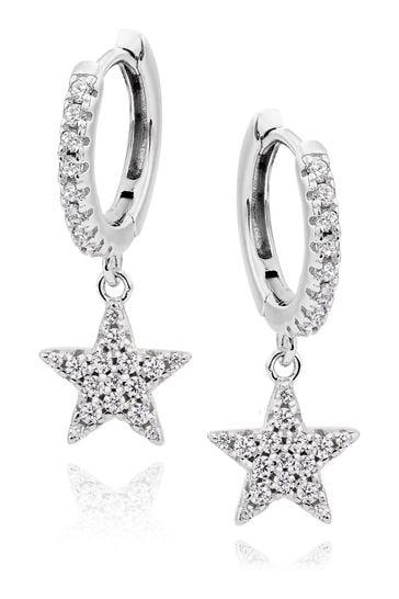 Beaverbrooks Cubic Zirconia Star Charm Hoop Earrings