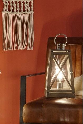 Pacific Grey Devon Wood And Chrome Lantern Table Lamp