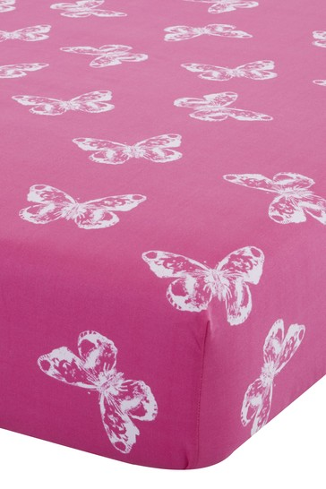 Catherine Lansfield Pink Butterfly Easy Care Fitted Sheet