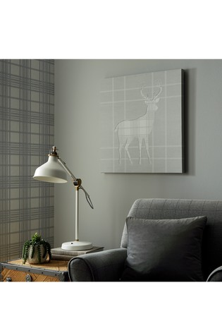 Tartan Stag Silhouette Canvas by Art For The Home