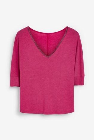 Pink Embellished V-Neck Top