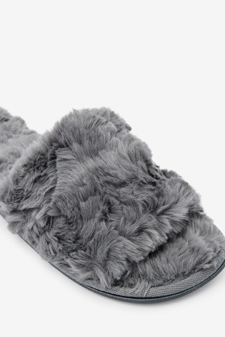 Grey Textured Faux Fur Slider Slippers