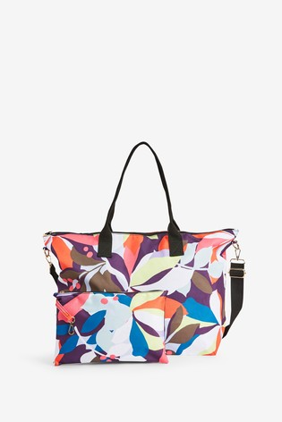 Bright Floral Fold-Away Beach Bag