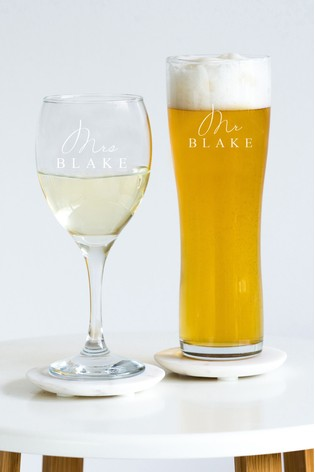 Personalised Mr & Mrs Glass Set by Oh So Cherished