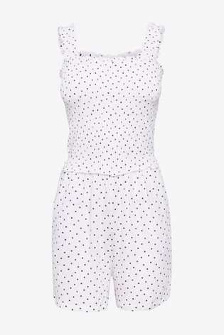 White Spot Shirred Playsuit