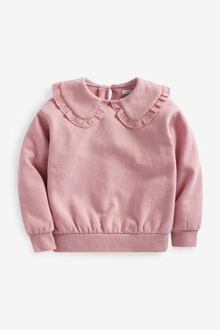 Pink Collar Detail Sweat Top (3-16yrs)