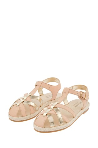 Monsoon Pink Caged Espadrille Sandals