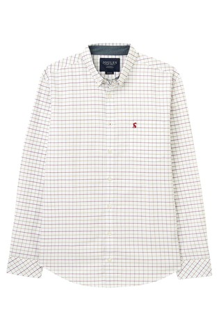 Joules White Welford Long Sleeve Classic Fit Check Shirt