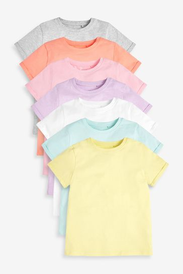 Multi 7 Pack Pastel Plain T-Shirts (3-16yrs)