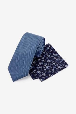 Blue Signature Tie With Pocket Square Set