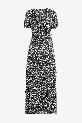 Dalmation Print Wrap Maxi Dress