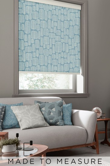 Little Trees Hurricane Blue Made To Measure Roller Blind by MissPrint