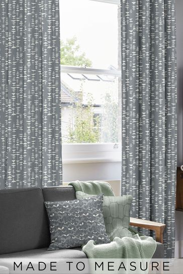 Ditto Liquorice Black Made To Measure Curtains by MissPrint