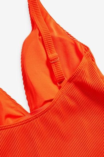 Orange Sculpt And Shape Ribbed Plunge Swimsuit
