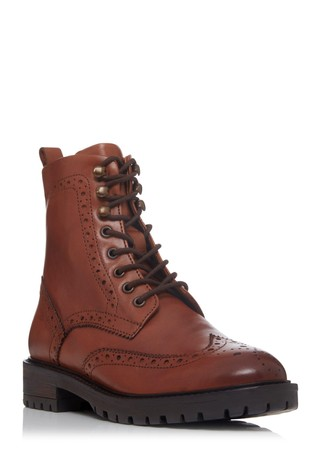 Dune London Purely Tan Brogue Detail Ankle Boots