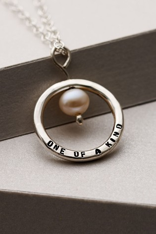 Personalised Pearl & Circle Necklace by Posh Totty Designs