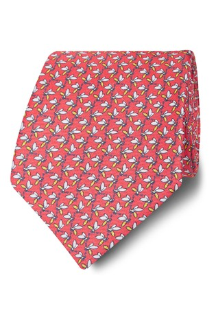 T.M. Lewin Made In Italy Wide Coral And Yellow Wasp Silk Tie