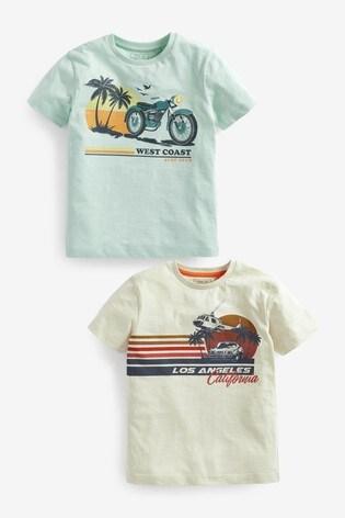 Aqua/Cream Surf Short Sleeve T-Shirts 2 Pack (3-16yrs)