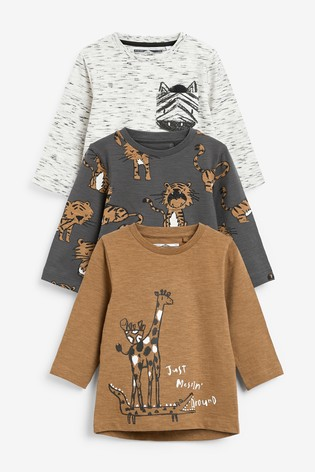Tan Safari 3 Pack Long Sleeve Character T-Shirts (3mths-7yrs)