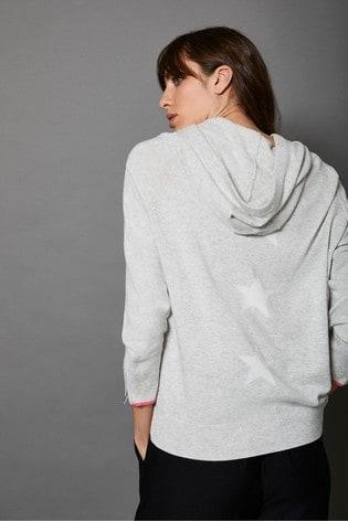 Mint Velvet Grey Side Stripe Knit Hoodie
