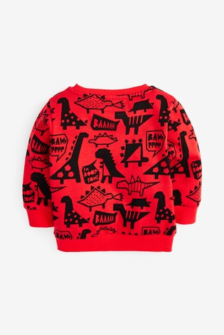 Red Dino Crew All Over Print Jersey (3mths-7yrs)