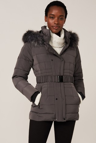 Phase Eight Grey Leona Short Quilted Coat