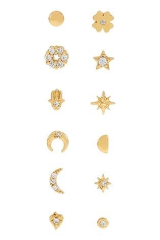 Accessorize Gold 12 Piece Sparkle Stud Set