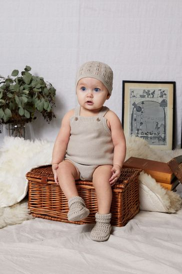 The Little Tailor Fawn Ecru Knitted Baby Romper Bodysuit