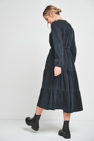 Black Denim Tiered Belted Dress