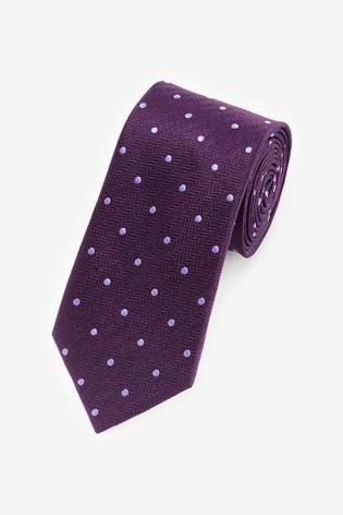 Plum Polka Dot Pattern Tie