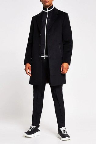 River Island Black Overcoat