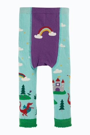 Frugi Organic Blue Castle And Rainbows Knitted Leggings