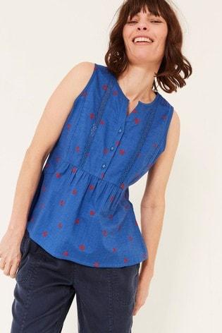 FatFace Blue Ella Embroidered Daisy Cami