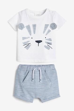 Blue Tiger Appliqué T-Shirt And Shorts Set (0mths-3yrs)