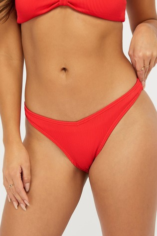 Accessorize Red Basic Ribbed V Bikini Briefs