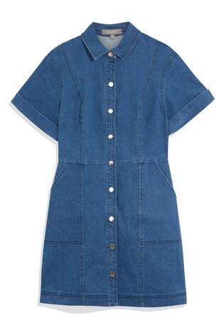Oasis Blue Button Denim Shirt Dress