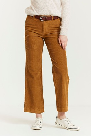 FatFace Brown Cord Wide Leg Trousers
