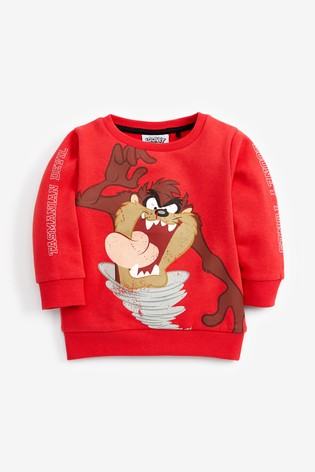 Red Taz The Tasmanian Devil Crew Top (3mths-8yrs)