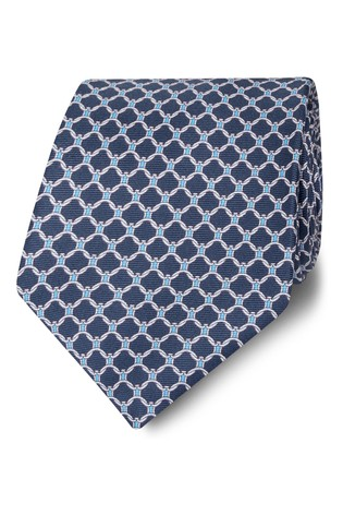 T.M. Lewin Made In Italy Wide Navy, Blue And White Chain Link Silk Tie