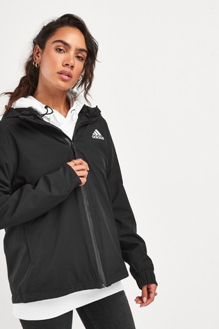 adidas Black 3 Stripe Rain Ready Jacket