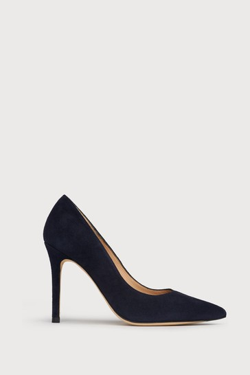 L.K.Bennett Blue Floret Suede Pointed Toe Courts