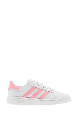 adidas Originals White/Pink Court Novice Junior Trainers