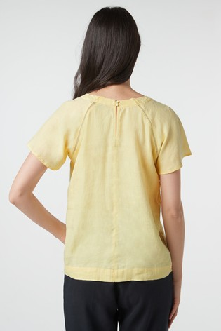 Yellow Short Sleeve Linen Top