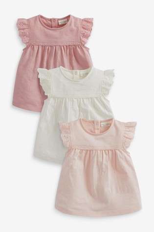 Pink 3 Pack Broderie Frill T-Shirts (0mths-3yrs)