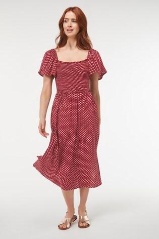 Berry Spot Off The Shoulder Dress