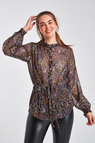 Black Paisley Frill Neck Top