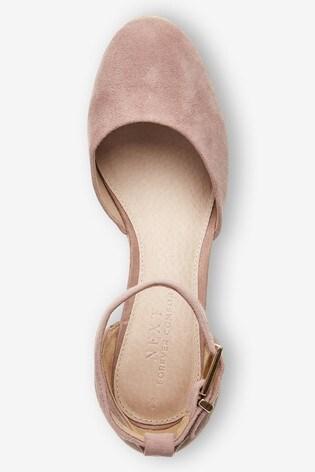 Blush Leather Closed Toe Wedges