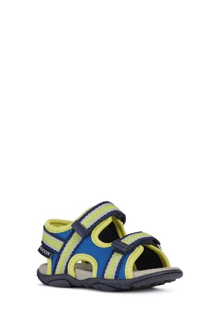 Geox Baby Boys' Agasim Royal Blue/Lime Green Sandals
