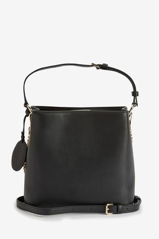 DKNY Black Smooth Leather Dayna Bucket Shoulder Bag